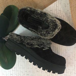 Sketchers Mule Shoes Fur Lined Black Size 7